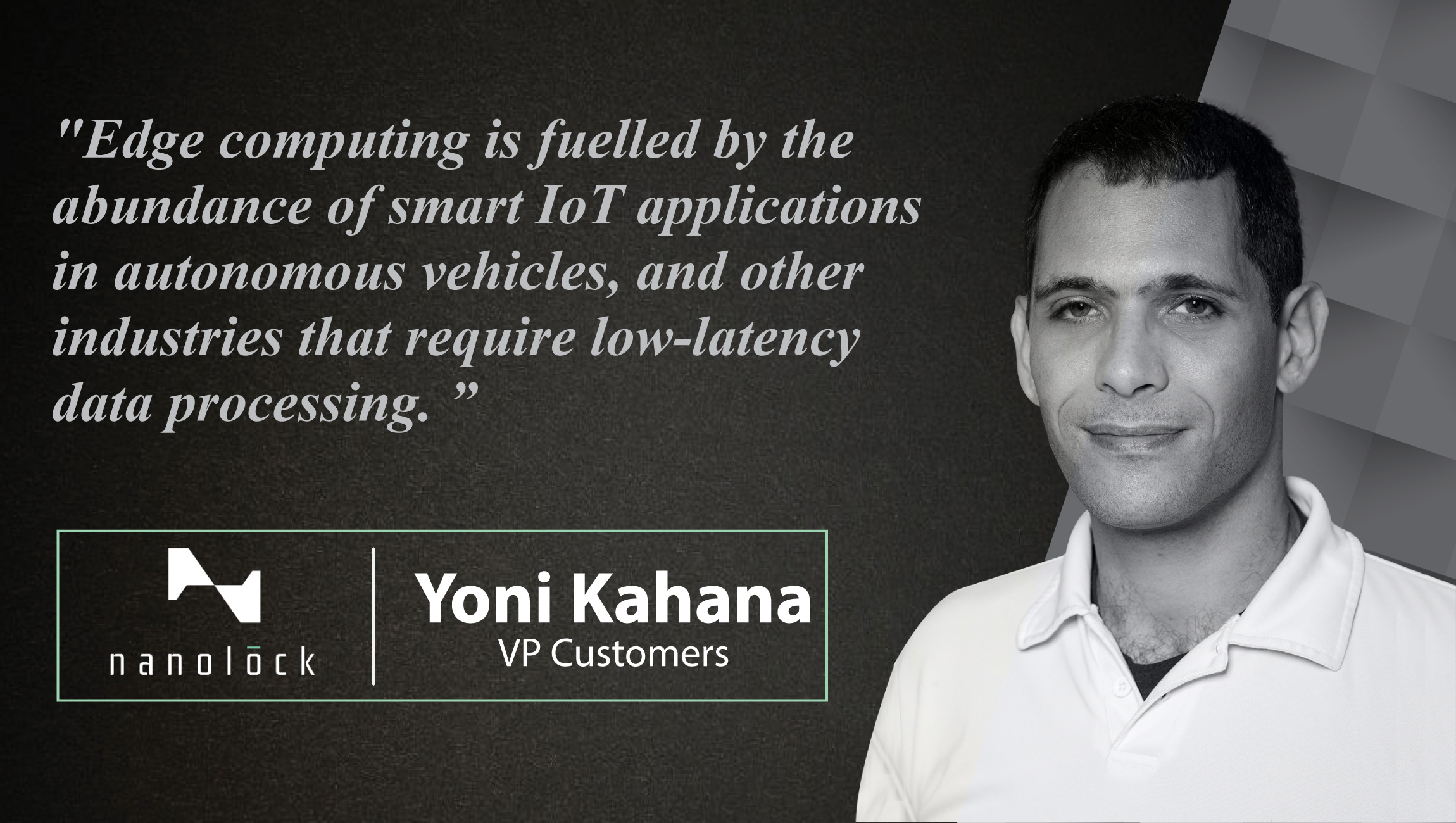 Interview With Yoni Kahana, VP Customers of NanoLock Security- cue card