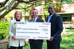Pictured here at the February 22 check presentation at the University of South Florida are (L-R): Julie Gillespie, associate vice president of university development for the University of South Florida Foundation; Ernie Ferraresso, associate program director for Cyber Florida; and Mark Elliot, executive director and head of military and veterans affairs for JPMorgan Chase & Co.